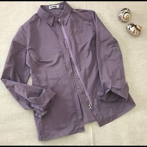 JIL SANDER Purple Silk Blend Shirt Jacket Sz M